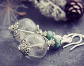 Dandelion Earrings Make A Wish Jewelry Glass Terrarium Fairy Garden Magic Orb Botanical Seed Gardening Gift For Her Dangle Turquoise