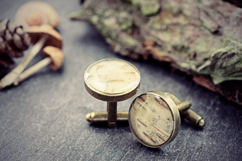 Silver Birch Cufflinks Wood Bark Bronze Cuff Links Tree Woodland Wedding Gift For Him Groom