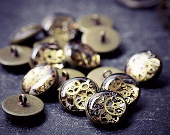Steampunk Costume Buttons Clockwork Watch Part Shank Tiny Cogs Resin Gears Steam Punk Clothing Cyberpunk