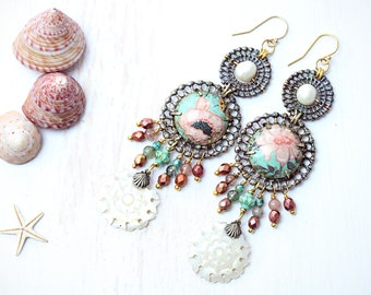 Salvaged Mother of Pearl Tin Long Earrings Assemblage Artefact Button Gold Filled Hooks Found Object Upcycled Jewellery