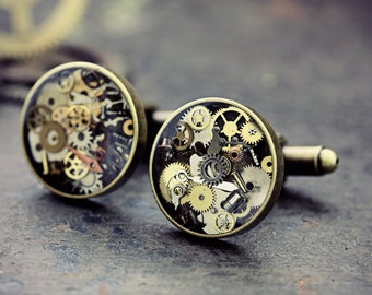 Steampunk Watch Part Cufflinks Jewelry Gift For Men Round Steam Punk Eco Friendly Resin Cyberpunk Wedding Upcycled Gears Cogs Bronze