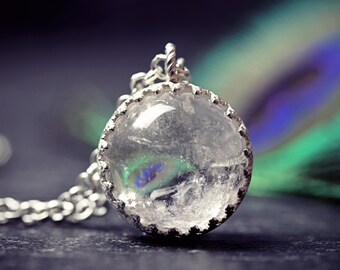 Small Pool Of Light Necklace Rock Quartz Ice Orb Crystal Ball Pendant Viking Gotland Norse Moon Sphere Wicca Jewelry 1920s