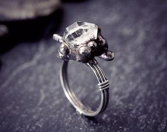 Herkimer Diamond Ring Sterling Silver Organic Raw Quartz Rustic Primitive Jewellery Engagement Size N 6.5