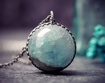 Aquamarine Orb Necklace March Birthstone Jewelry Pool Of Light Crystal Ball Rock Wicca Divination Healing Semi Precious Gem Sphere