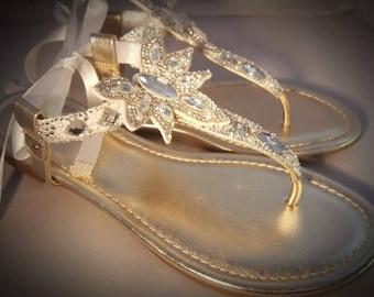 afc65ffce27ad Crystal embellished bridal sandals