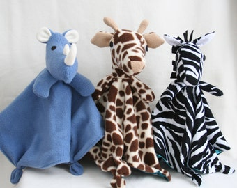 Safari Animal Lovey Collection PDF Sewing Pattern - Make a Rhino, Giraffe or Unicorn Lovey Blanket  for Baby
