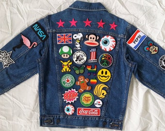 Patched Denim Hand Reworked Vintage Jean Jacket With Patches Etsy
