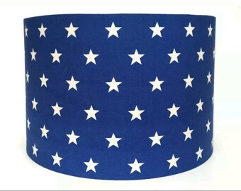 Royal Blue and White Stars Fabric Lampshade