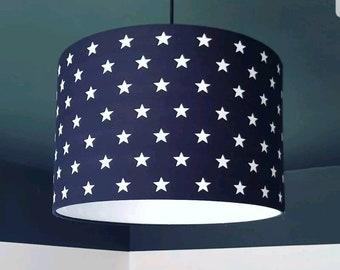 Black & White Stars Fabric Lampshade