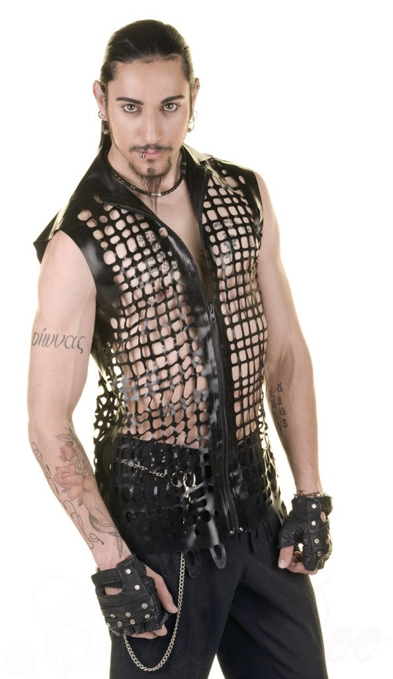 Crosshatch Latex Mesh Sleeveless Collared Shirt in Orange or ANY Colour