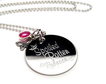 Spoiled Rotten Personalized Engraved Necklace