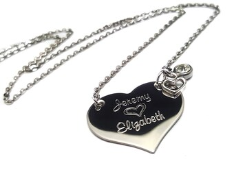 engraved heart necklace etsy