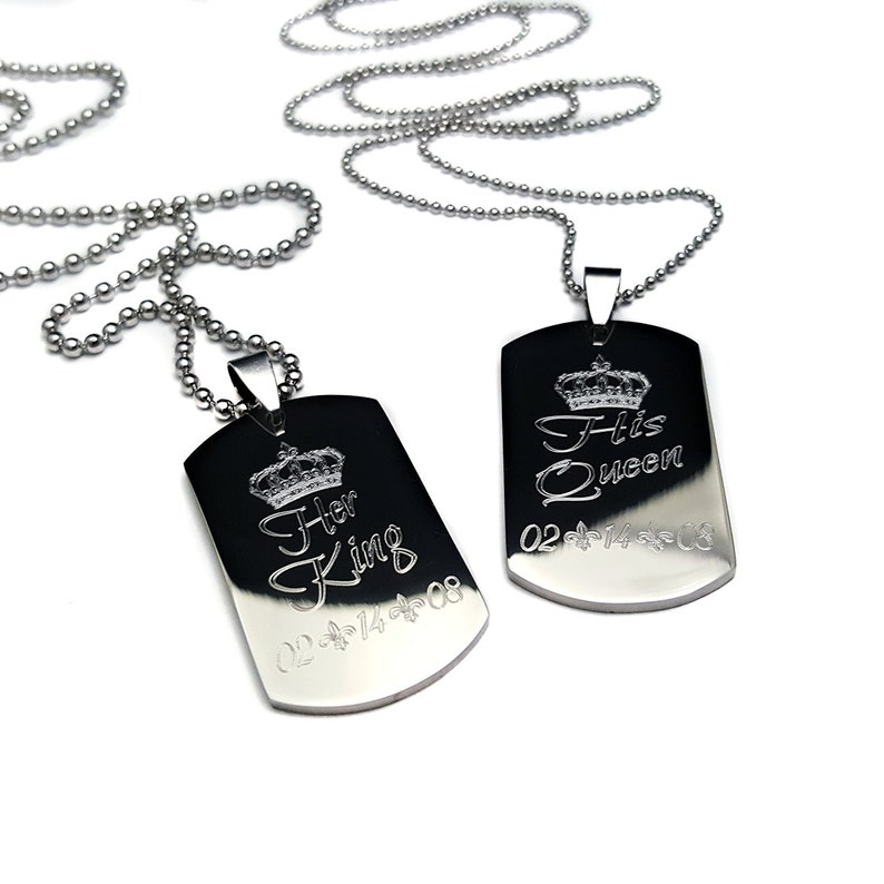 4c53f49263 Stainless Steel Couples Dog Tag Her King His Queen His and | Etsy