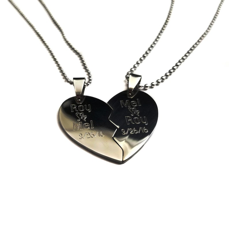 878d62f8d0 Couples split heart anniversary necklace Her one His only   Etsy