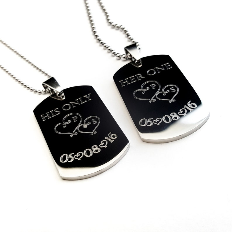 1a680c0efa Personalized Couples Medium Dog Tag Her One His Only His   Etsy