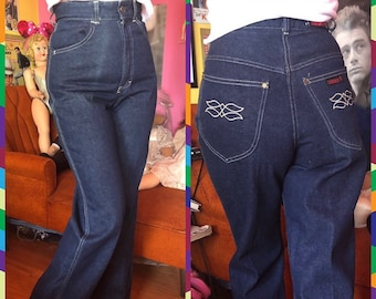 a047c54b24e Vintage 70s groovy Deadstock dark wash boot cut high waisted Cherokee jeans  size xs 25.5 inch waist