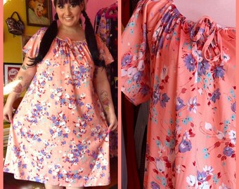 04999f9103 Vintage 70s groovy pink floral polyester tent dress size XL XXL plus size  vintage