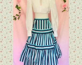 ebe6fc9503 Vintage 60s blue striped Bavarian ruffle dirndl skirt size small