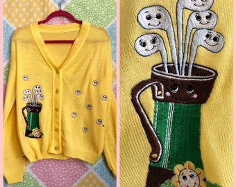 a6160ce6aa Vintage 70s groovy kitsch yellow novelty print golf sweater cardigan size  M L XL
