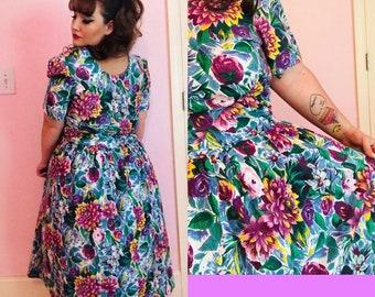 80\'s plus size dress | Etsy