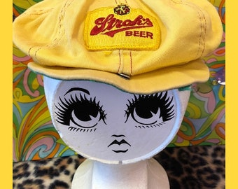 46cf91628f0 70s Strohs Beer yellow slouchy afro cap newsboy hat  baseball hat