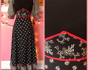 70s black and red ruffled flower child maxi dress