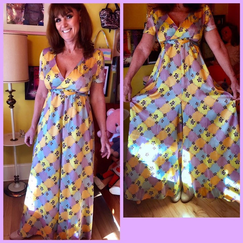 809a7129ac89 60s groovy psychedelic pastel floral print wide leg palazzo