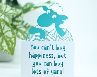 You can't buy happiness, notecard greetings card for a knitter, knitting themed card, birthday card for her him, birthday card for a friend