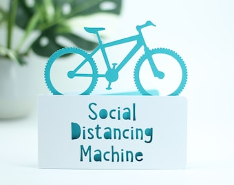 Social Distancing Machine,  for a cyclists birthday,  bicycle birthday, bike adventure card, cyclist card, card for cyclist,