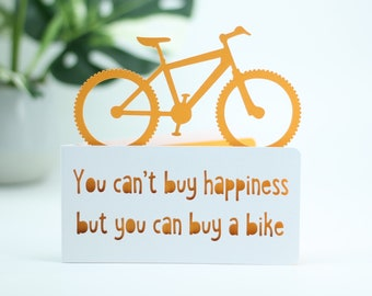 You can't buy happiness,  for a cyclists birthday,  bicycle birthday, bike adventure card, cyclist card, card for cyclist,