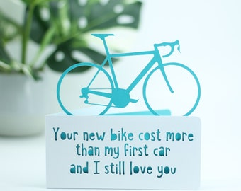 Your new bike cost more than my car,  Card for a cyclists birthday,  bicycle birthday, bike adventure card, cyclist card, card for cyclist,
