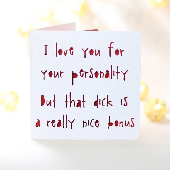 Bonus Dick Funny Birthday Card For Him Husband Boyfriend