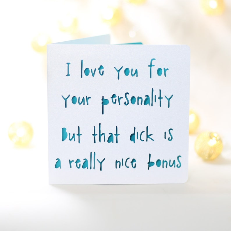 Bonus Dick Funny Birthday Card For Him Husband Boyfriend