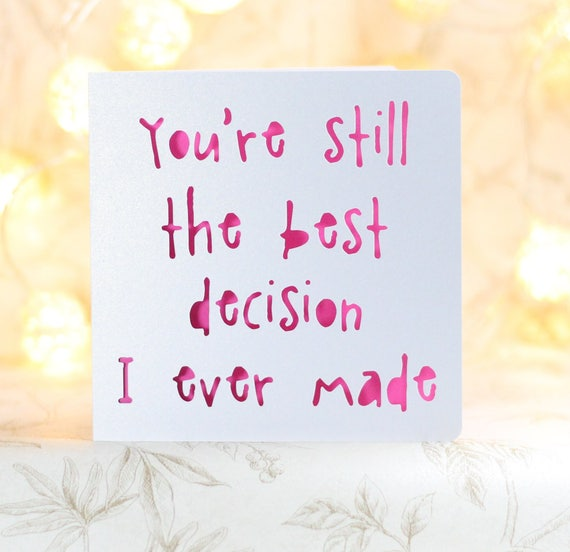 Youre My Best Decision Funny Birthday Card For Him Etsy