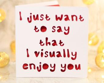 I visually enjoy you, funny birthday, Card for him, husband boyfriend birthday, snark card, sarcastic card, gift card, snarky birthday card