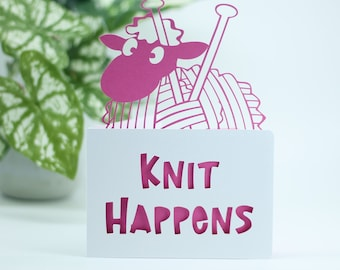 Knit Happens, a notecard greetings card for a knitter, knitting themed card, birthday card for her or him, birthday card for a friend