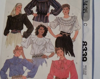 Vintage 1982 McCall's 8339 sewing pattern misses' blouse in size 10