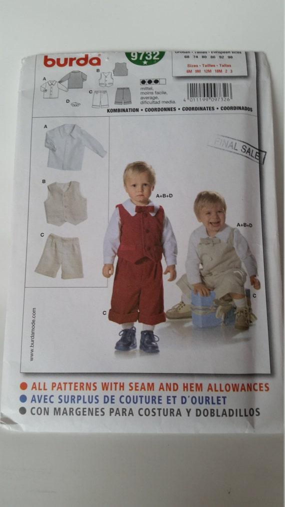 Burda Nähen Muster 9732 Infant/Toddler Knaben Hemd Krawatte | Etsy