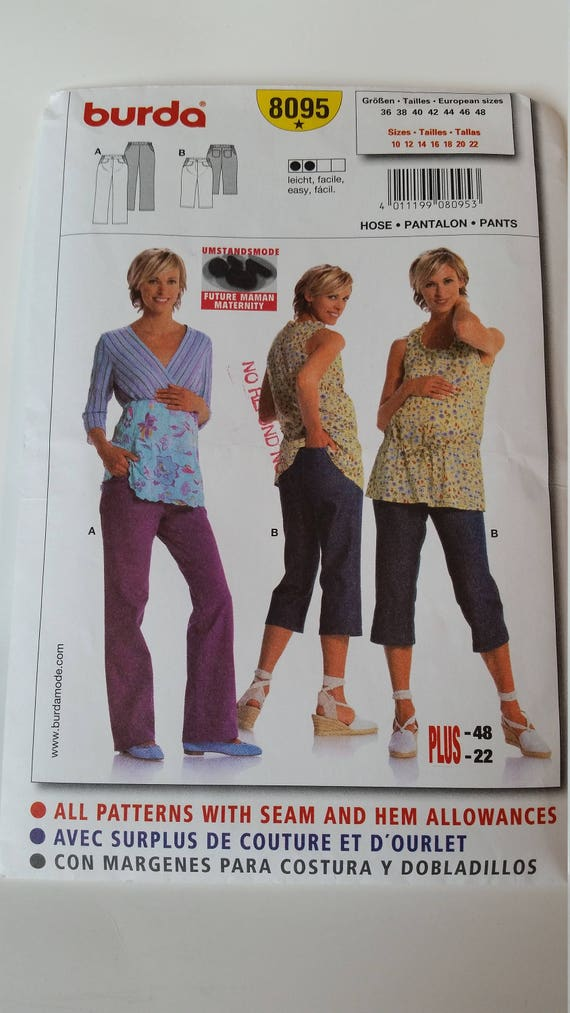 c830011454cfd Burda Sewing Pattern 8095 Misses' Maternity Pants in size | Etsy