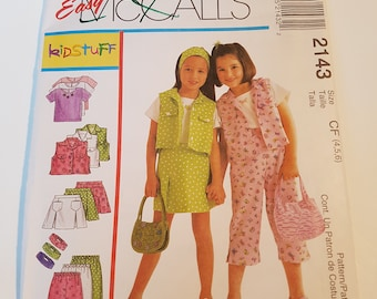 McCall's Sewing Pattern 2143 Children's and Girls' Top, Vest, Skort, Pants and Headband in size 4, 5, 6