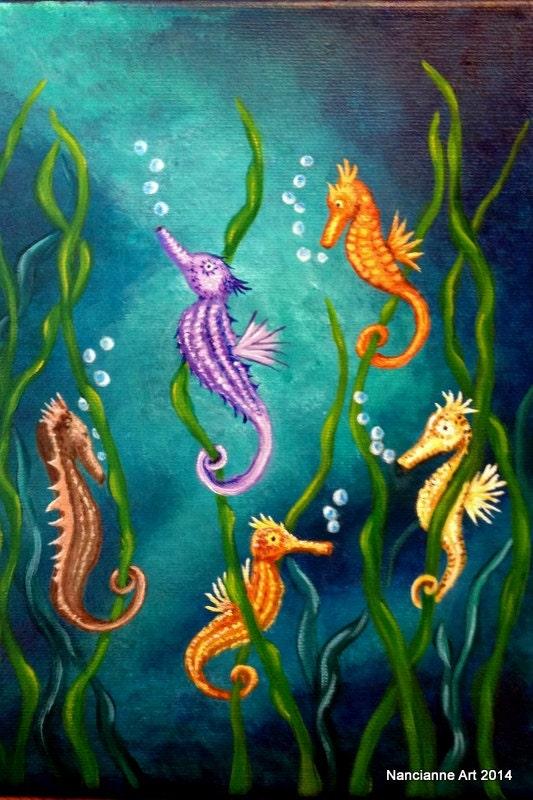 Sea Horses Fantasy Art Seahorse Art Under The Sea Kelp Etsy