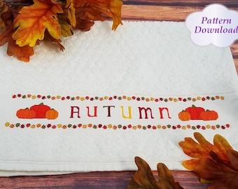 Autumn Hand Towel Cross-Stitch Pattern - PDF Download