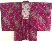 Beautiful Meisen silk haori with Grapevines.