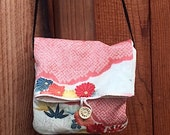Handbag with shoulder strap; up-cycling antique Japanese kimono