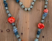 Necklace, rustic and elegant with red shibori balls, crinkled fabric, glass and wooden beads