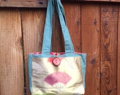 Tote bag with festive, golden obi fabric