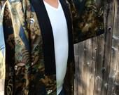 Man's silk kimono/nagajuban in earth colors and with dragons...