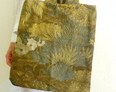 Beauty of green - enjoy Nature with this bag made from vintage Japanese obi