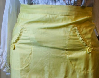 Straight skirt for girl yellow vintage.  1940s style
