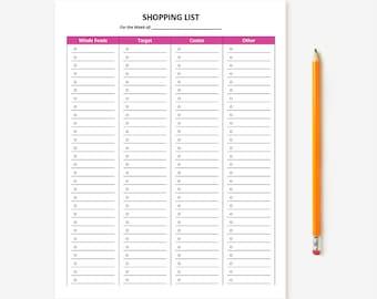 Customizable Printable Shopping List